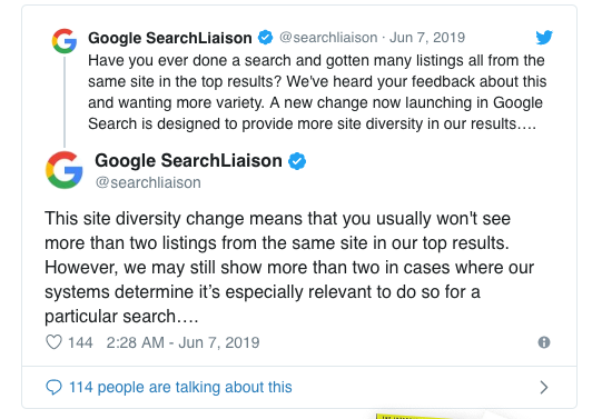 Google Limits the Number of Search Results Per Domain to Have More Diversity